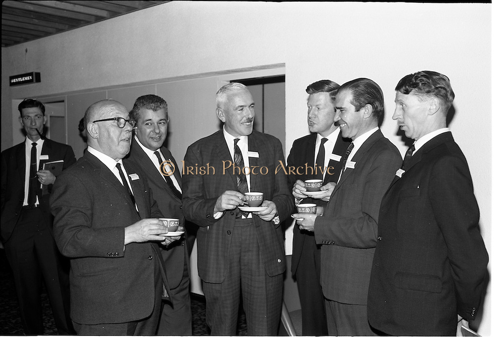 05/06/1964<br /> 06/05/1964<br /> 05 June 1964<br /> Clothing Institute Conference at Jury's Hotel, Dublin. Picture shows (l-r): Mr. B.S. Glass, Kilmaine Clothes Ltd.; Mr. J.A. Greenfield (Greenfield and Associates); Mr. P.G. McAndrew, (Singers of Dublin); Mr. G.N. Sellers, (Bonded Fibre Fabrics); Mr. F.W. Lindley (Courtaulds Ltd.) and Mr E.S. Fryer (Abbey Clothing Co. Ltd.), Chairman of the Dublin Branch.