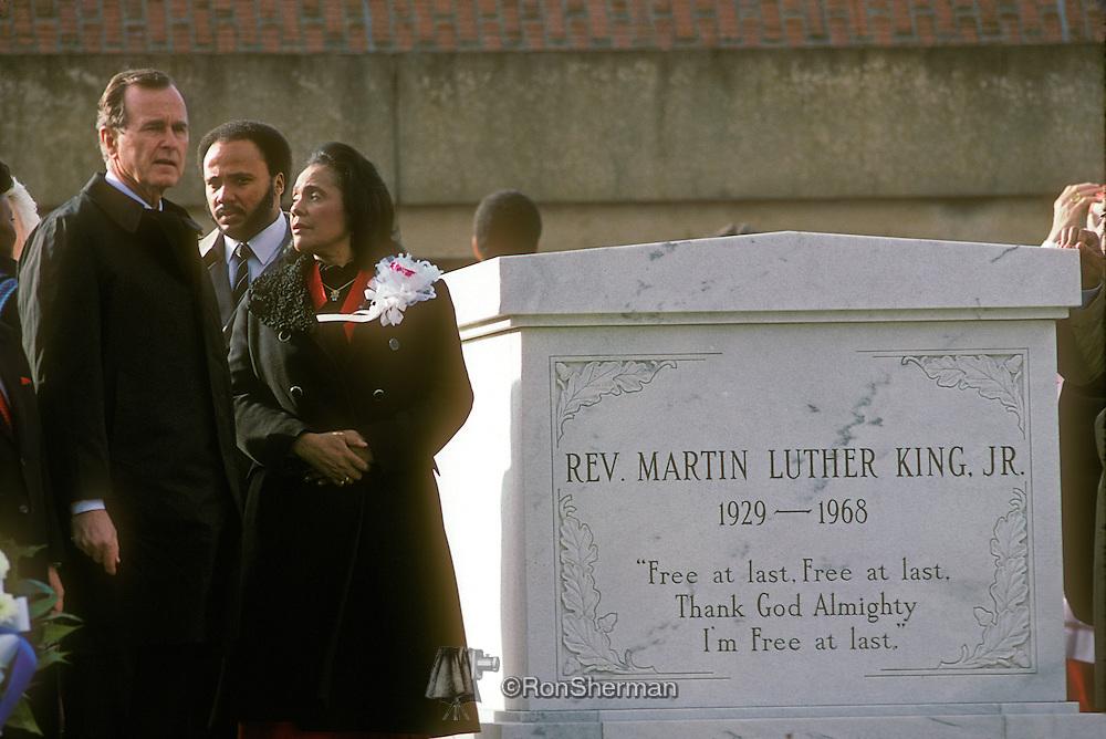 President George H Bush and Coretta Scott King at Gravesite during ML King Day Celebration 1986 in Atlanta Georgia