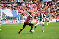 Bradford City Mark Marshall takes on Millwall defender Mahlon Romeo  during the Sky Bet League 1 play-off final at Wembley Stadium, London<br /> Picture by Glenn Sparkes/Focus Images Ltd 07939664067<br /> 20/05/2017