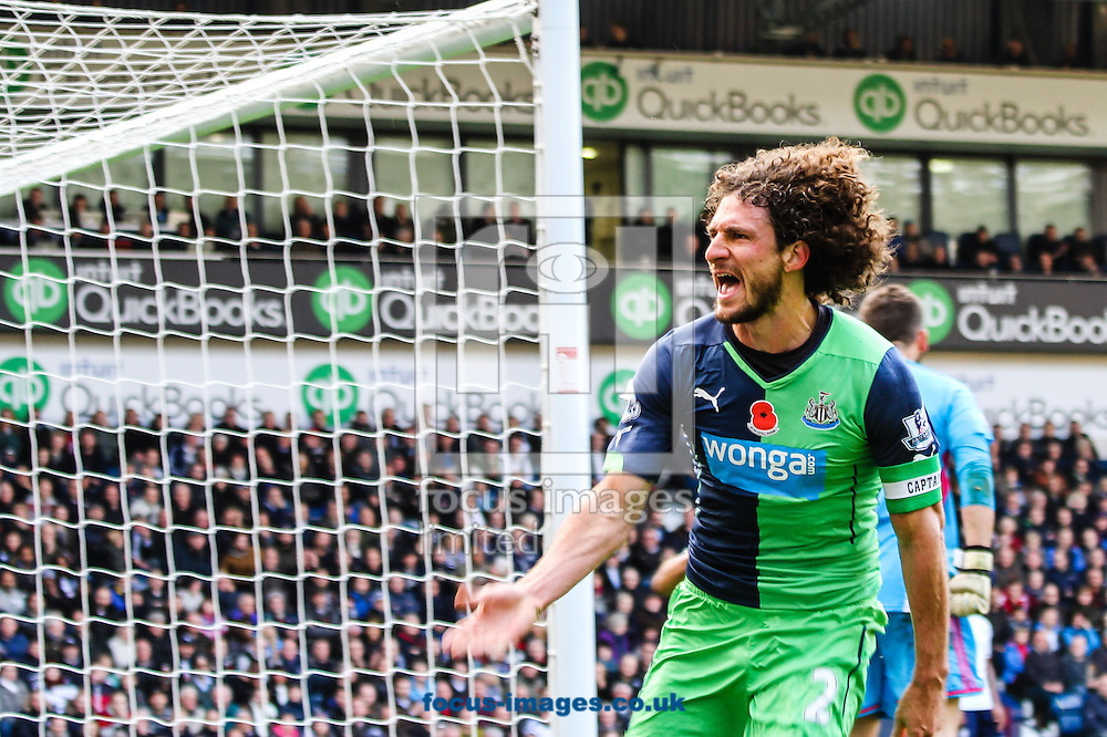 Fabricio Coloccini of Newcastle United celebrates after scoring their second goal during the Barclays Premier League match at The Hawthorns, West Bromwich<br /> Picture by Andy Kearns/Focus Images Ltd 0781 864 4264<br /> 09/11/2014