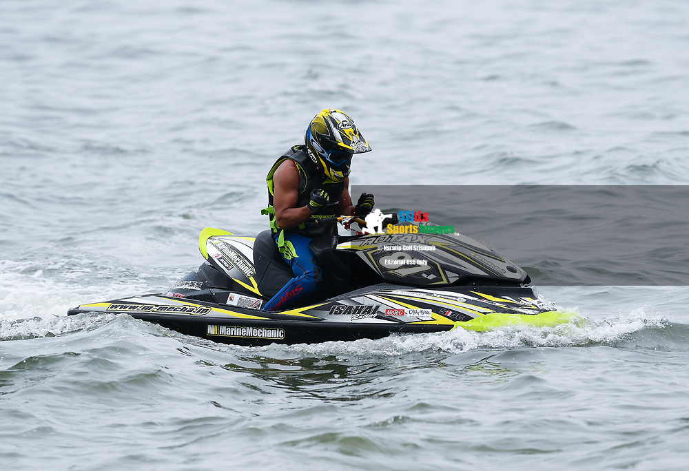 PATTAYA, THAILAND - DECEMBER 09: Hajime Isahai (J87) of Japan and Marine Mechanic reaction after the Pro Runabout GP Moto3 at the Thai Airways International Jet Ski World Cup 2018, Jomtien Beach, Pattaya, Thailand on December 09, 2018. <br /> .<br /> .<br /> .<br /> (Photo by: Naratip Golf Srisupab/SEALs Sports Images)<br /> .<br /> Any image use must include a mandatory credit line adjacent to the content which should read: Naratip Golf Srisupab/SEALs Sports Images