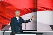 Gov. Mike Pence addresses delegates as he formally accepts the party's nomination as GOP Vice Presidential  candidate during the third day of the Republican National Convention July 20, 2016 in Cleveland, Ohio.