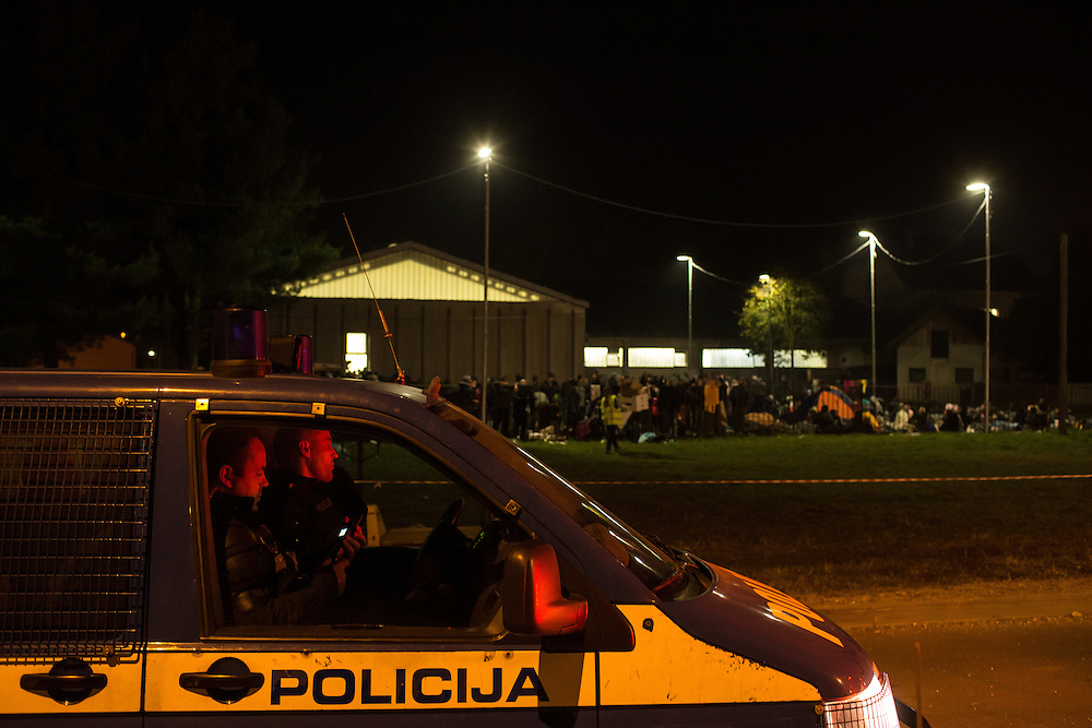 26.10. 2015, refugees are gathering in reception center in Dobova after crossing  Slovenian-Croatian border. They came from Opatovac refugee center in Croatia through Rigonce crossing point. But before that they have to walk at least 3 km from train station in Kljuc-Brdovecki  through the fields to Rigonce and then in Dobova. Police didn`t let any journalist to come closer than 20 m.
