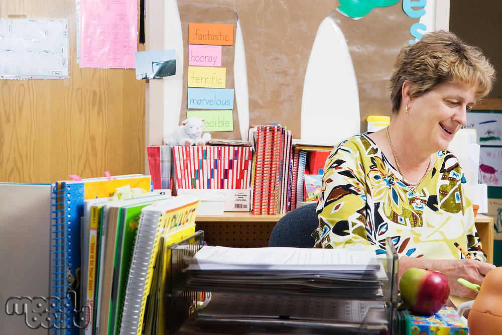 Teacher Working at Desk