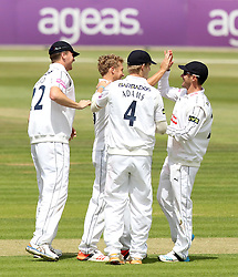 Hampshire celebrate Gareth Berg's wicket of Somerset's Marcus Trescothick - Photo mandatory by-line: Robbie Stephenson/JMP - Mobile: 07966 386802 - 21/06/2015 - SPORT - Cricket - Southampton - The Ageas Bowl - Hampshire v Somerset - County Championship Division One