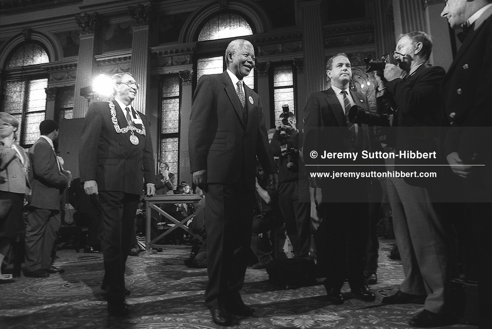 Nelson Mandela inside the City Chambers, George Square, Glasgow, Scotland, on 9th October 1993. Mandela was in Glasgow to receive the 'Freedom of the City' honour.