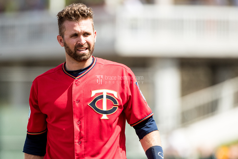 FORT MYERS, FL- MARCH 01: Brian Dozier #2 of the Minnesota Twins looks on against the Pittsburgh Pirates on March 1, 2017 at the CenturyLink Sports Complex in Fort Myers, Florida. (Photo by Brace Hemmelgarn) *** Local Caption *** Brian Dozier
