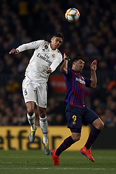 February 6, 2019 - Barcelona, Barcelona, Spain - Raphael Varane of Real Madrid and Luis Suarez of Barcelona competes for the ball during the Spanish Cup (King's cup), first leg semi-final match between FC Barcelona and  Real Madrid at Camp Nou stadium on February 6, 2019 in Barcelona, Spain. (Credit Image: © Jose Breton/NurPhoto via ZUMA Press)