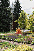The Flower Trial Garden at Colorado State University in Fort Collins, Colorado. The garden is to evaluate the performance of different annual plant cultivars under the unique Rocky Mountain environmental conditions.
