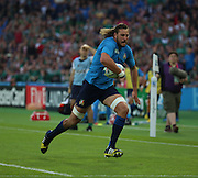 Italy's second row Josh Furno making a break for the Italian try line during the Rugby World Cup Pool D match between Ireland and Italy at the Queen Elizabeth II Olympic Park, London, United Kingdom on 4 October 2015. Photo by Matthew Redman.