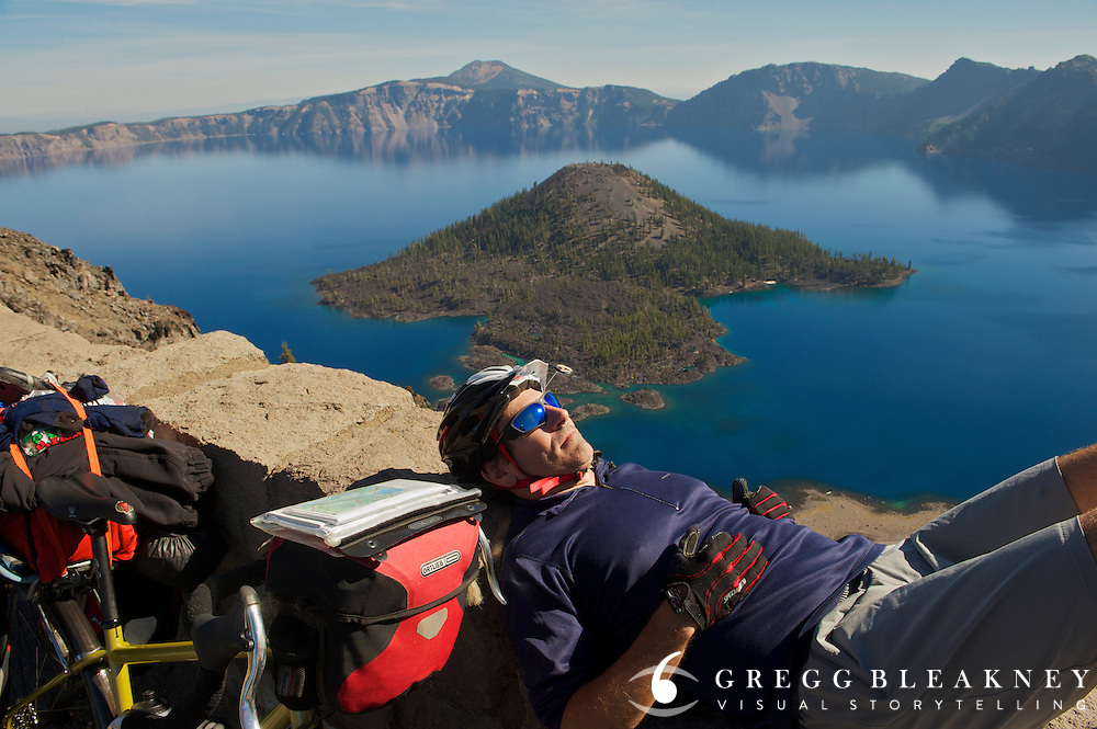 gMack (cyclist) takes a mid-day siesta above Crater Lake - Adventure Cycling Sierra Cascades Route - Canada to Mexico Expedition