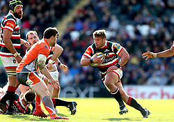 Tom Youngs of Leicester Tigers runs with the ball - Mandatory by-line: Robbie Stephenson/JMP - 15/04/2017 - RUGBY - Welford Road - Leicester, England - Leicester Tigers v Newcastle Falcons - Aviva Premiership