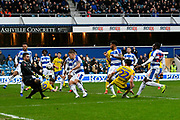 Jack Harrison (22) of Leeds United shoots at goal and his shot is saved by Matt Ingram (1) of Queens Park Rangers during the The FA Cup 3rd round match between Queens Park Rangers and Leeds United at the Loftus Road Stadium, London, England on 6 January 2019.