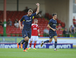 Southampton's Jos Hooiveld celebrates his goal - Photo mandatory by-line: Joe Meredith/JMP - Mobile: 07966 386802 21/07/2014 - SPORT - FOOTBALL - Swindon - County Ground - Swindon Town v Southampton