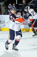 KELOWNA, CANADA, OCTOBER 29: JC Lipon #34 of the Kamloops Blazers takes a shot on net as the Kamloops Blazers visit the Kelowna Rockets  on October 29, 2011 at Prospera Place in Kelowna, British Columbia, Canada (Photo by Marissa Baecker/Shoot the Breeze) *** Local Caption *** JC Lipon;