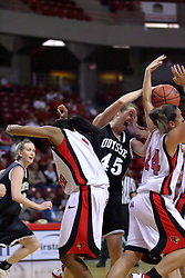 02 November 2008: Genny Mueller out reaches Shala Jackson and Emily Hanley for a rebound during a game which the Illinois State Redbirds defeated Odyssey on Doug Collins Court inside Redbird Arena in Normal Illinois.