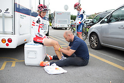 Christina Perchtold (AUT) of Cervélo-Bigla Cycling Team receives a pre-race leg rub before Stage 1 of the Emakumeen Bira - a 50 km road race, starting and finishing in Iurreta on May 16, 2017, in Basque Country, Spain.
