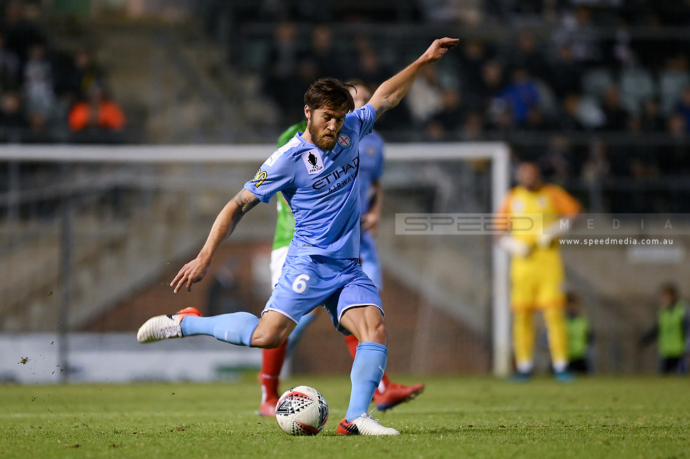 SYDNEY, AUSTRALIA - AUGUST 21: Melbourne City player Joshua Brillante (6) kicks the ball during the FFA Cup round of 16 soccer match between Marconi Stallions FC and Melbourne City FC on August 21, 2019 at Marconi Stadium in Sydney, Australia. (Photo by Speed Media/Icon Sportswire)