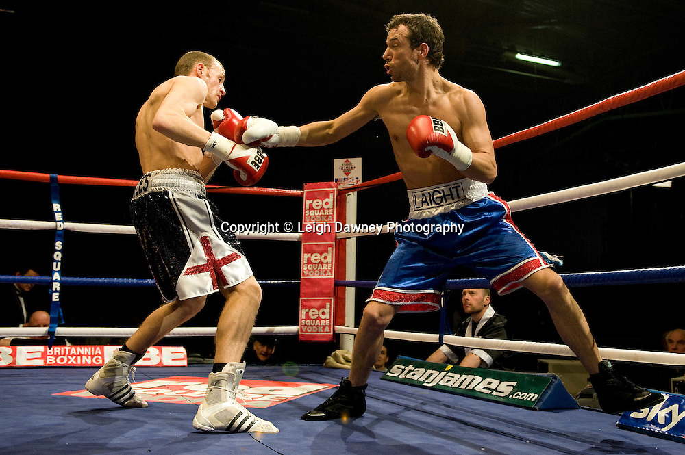 Dale Miles defeats Kristian Laight (blue shorts) at the Harvey Hadden Leisure Centre 5th February 2010 Frank Maloney Promotions . Photo credit © Leigh Dawney