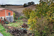 autumn season rural landscape setting with a pile of firewood France Razes Languedoc