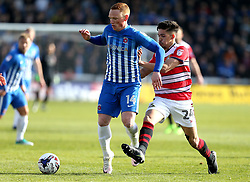 Michael Woods of Hartlepool United takes on Niall Mason of Doncaster Rovers - Mandatory by-line: Robbie Stephenson/JMP - 06/05/2017 - FOOTBALL - The Northern Gas and Power Stadium (Victoria Park) - Hartlepool, England - Hartlepool United v Doncaster Rovers - Sky Bet League Two