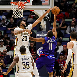 Oct 23, 2018; New Orleans, LA, USA; New Orleans Pelicans forward Anthony Davis (23) blocks a shot by Los Angeles Clippers guard Avery Bradley (11) during the first quarter at the Smoothie King Center. Mandatory Credit: Derick E. Hingle-USA TODAY Sports