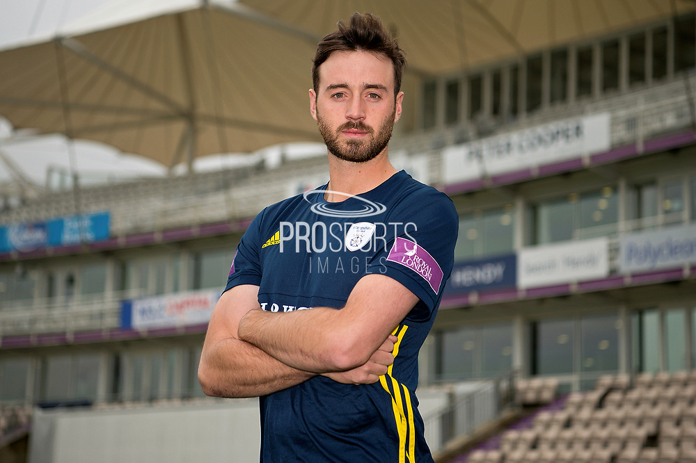 Portrait of James Vince in front of the pavilion during the Hampshire County Cricket Club Media Day at the Ageas Bowl, Southampton, United Kingdom on 10 April 2018. Picture by Dave Vokes.