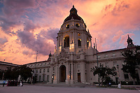 Wedding Photography Session in Front of City Hall at Sunset, Pasadena, California