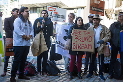 London, UK. 17 October, 2019. Tchenna Fernandes Maso, a community lawyer from Mariana in Brazil and member of the coordination of Movement of People Affected by Dams (MAB) joins frontline human rights defenders and climate justice activists from London Mining Network and War on Want in protesting outside the AGM of  British-Australian mining company BHP at the QEII Centre against the company's destructive mining practices, which are contributing to climate breakdown across the globe.