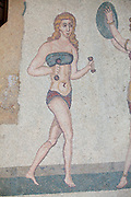 "Mosaics of the Villa Imperiale del Casale near Piazza Italy on the Island of Sicily. Room of the girls in ""Bikini""."