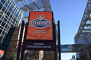 January 22, 2015; Phoenix, AZ, USA; General view of the marquee at the NFL Experience at the Phoenix Convention Center in advance of Super Bowl XLIX between the Seattle Seahawks and the New England Patriots.