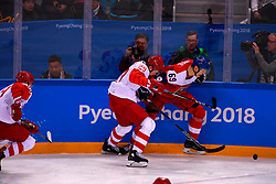 23.02.2018, Gangneung Hockey Centre, Gangneung, KOR, PyeongChang 2018, Eishockey Semifinale, Tschechien vs OAR, im Bild kablukov (ilya), radil (lukas) // during the ice hockey semifinal match between Czech Republic vs OAR of the Pyeongchang 2018 Winter Olympic Games at the Gangneung Hockey Centre in Gangneung, South Korea on 2018/02/23. EXPA Pictures © 2018, PhotoCredit: EXPA/ Pressesports/ Jerome Prevost<br /> <br /> *****ATTENTION - for AUT, SLO, CRO, SRB, BIH, MAZ, POL only*****