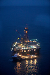 NORWAY BARENTS SEA 6DEC15 - General view of the ultra-deepwater Scarabeo 8 drilling rig at the Goliat-field in the Barents Sea. Scarabeo is a 6th generation semi-submersible drilling rig owned  and operated by Saipem.<br /> <br /> <br /> <br /> jre/Photo by Jiri Rezac / Greenpeace<br /> <br /> © Jiri Rezac 2015