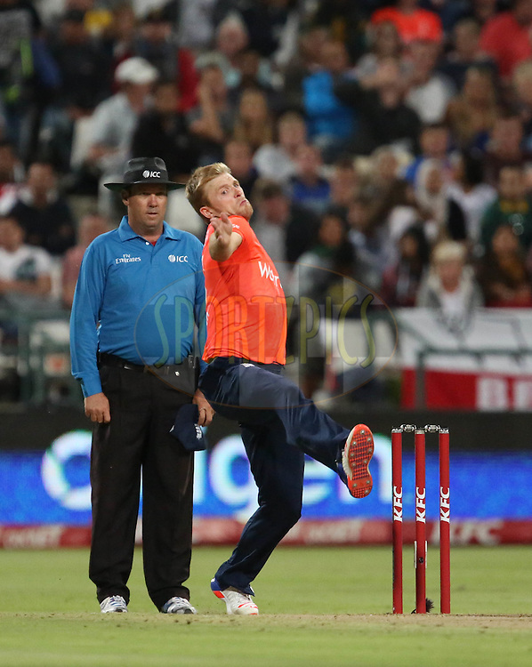 David Willey during the First KFC T20 Match between South Africa and England played at Newlands Stadium, Cape Town, South Africa on February 19th 2016