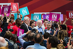 Kings Cross, London, June 22nd 2016. A final rally by members of the Labour Party's Vote Remain team is held in King's Cross, bringing London mayor Sadiq Khan, Welsh first minister Carwyn Jones, Labour In For Britain head Alan Johnson and Scottish leader Kezia Dugdale and Party Leader Jeremy Corbyn in a show of unity as they express the importance of a Remain vote. PICTURED: Welsh first minister Carwyn Jones, Scottish leader Kezia Dugdale, London Mayor Sadiq Khan and  Labour Leader Jeremy Corbyn pose for pictures with members of the crowd.