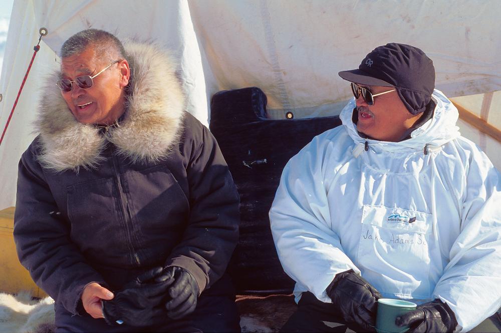 Alaska . Barrow . Captain Johnathan Aiken visits Captain Jacob Adams camp .