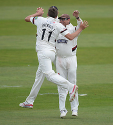 Somerset's Jamie Overton Celebrates Wicket of Hampshire's Michael Carberry  - Mandatory byline: Alex James/JMP - 07966386802 - 09/09/2015 - FOOTBALL -  - The County Ground - Taunton  - Somerset v Hampshire - LV CC -