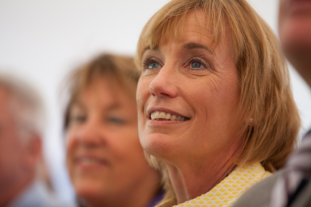 New Hampshire Gov. Maggie Hassan is pictured during a ceremony to present Broadway composer and lyricist Stephen Sondheim the Edward MacDowell Medal for lifetime achievement, at the MacDowell Colony, in Peterborough, NH on Sunday, August 11, 2013. Sondheim has won more Tony Awards than any other composer. His hit musicals include &quot;Follies,&quot; ''A Little Night Music&quot; and &quot;Sweeney Todd.&quot; <br /> (Matthew Cavanaugh Photo)
