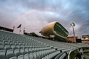 A rainbow over the J.P. Morgan Media Centre at Lords viewed from the Compton Stand during the International Test Match 2019 match between England and Australia at Lord's Cricket Ground, St John's Wood, United Kingdom on 18 August 2019.