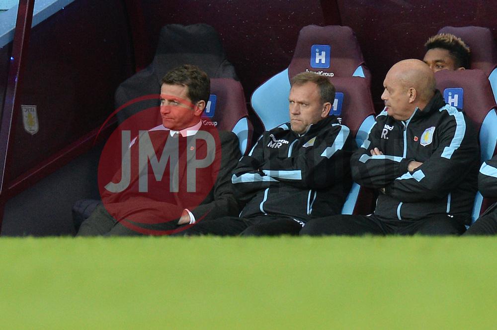 Aston Villa Manager Tim Sherwood looks dejected as he sits in the dugout. - Mandatory byline: Alex James/JMP - 07966 386802 - 24/10/2015 - FOOTBALL - Villa Park - Birmingham, England - Aston Villa v Swansea City - Barclays Premier League
