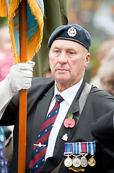 A veteran of the RAF carry a standard in the local Remembrance Day Parade at Chapeltown Sheffield South Yorkshire. This year (2011) also marks the 90th Anniversary of the Royal British Legion...13 November 2011. Image © Paul David Drabble