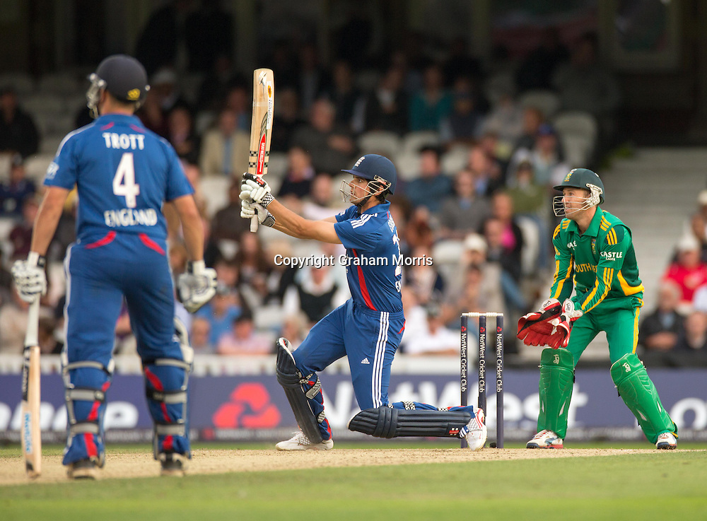 Alastair Cook is caught by Dean Elgar off the bowling of Robin Petersen during the third NatWest Series one day international between England and South Africa at the Kia Oval, London. Photo: Graham Morris (Tel: +44(0)20 8969 4192 Email: sales@cricketpix.com) 31/08/12