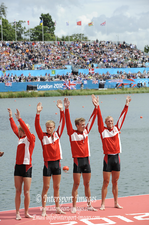 Eton Dorney, Windsor, Great Britain,..2012 London Olympic Regatta, Dorney Lake. Eton Rowing Centre, Berkshire[ Rowing]...DEN LM4- Medals Dock Bronze Medalist.  12:42:22   Thursday  02/08/2012..[Mandatory Credit: Peter Spurrier/Intersport Images].