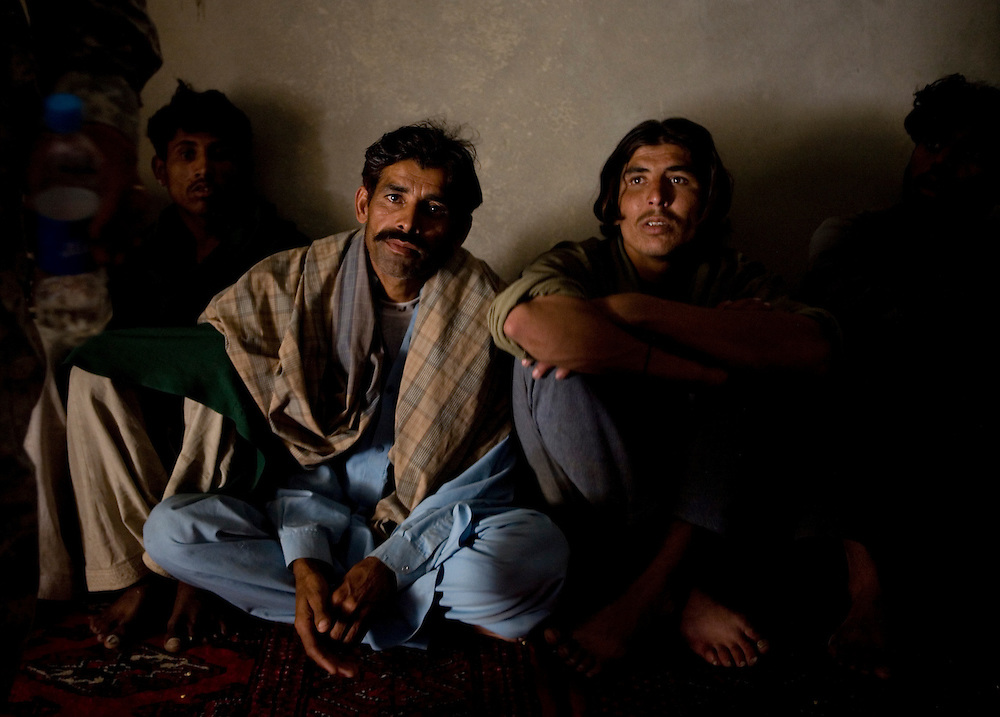 Pakistani laborers hired by Taliban sympathizers are questioned by the 82nd Airborne in Sangin, Helmand province, Afghanistan before being released to return to Pakistan on Saturday, April 7, 2007.