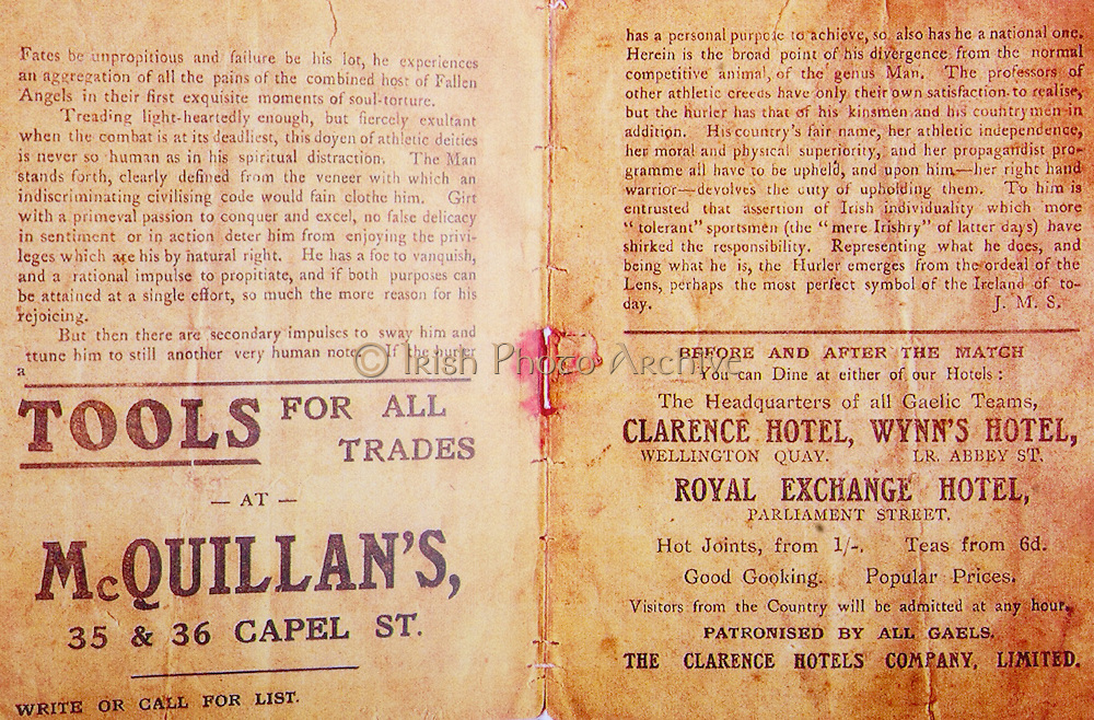 All Ireland Senior Hurling Championship Final,.02.11.1913, 11.02.1913, 2nd November 1913,.Tipperary 1-2,, Kilkenny 2-4,.Senior Tipperary v Kilkenny, .Jones's Road Dublin, ..Advertisements, McQuillan's Tools for all Trades, Clarence Hotel, Wynn's Hotel, Royal Exchange Hotel, ...