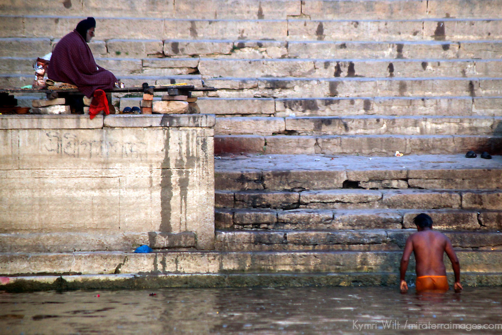Asia, India, Varanasi. Scene of daily life on Ganges River in Varanasi.