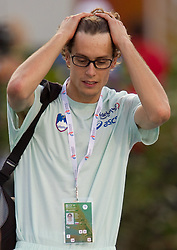 Rozle Prezelj of Slovenia disappointed after he competed during the men's high jump qualifications at the 2010 European Athletics Championships at the Olympic Stadium in Barcelona on July 27, 2010. (Photo by Vid Ponikvar / Sportida)