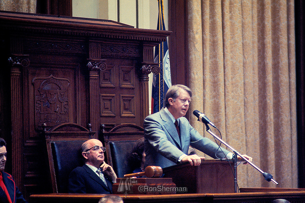 Governor Jimmy Carter speaks to the Georgia Legislature as the Lieutenant Governor Lester Maddox listens in Atlanta GA in 1973.