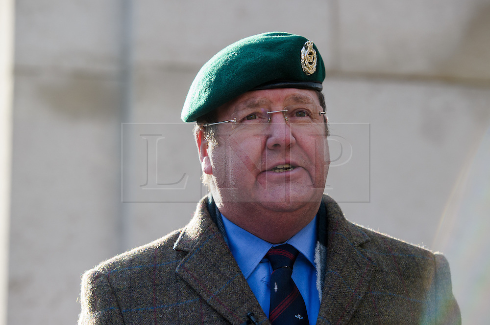 © Licensed to London News Pictures. 26/04/2016. London, UK.  <br /> Mike Hookem, UKIP MEP and Commando veteran talks to Northern Ireland Veterans on a parade before handing in a Petition 'Justice for Northern Ireland Veterans' to No 10 Downing St.  <br />  Photo credit: Anthony Upton/LNP