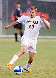 Hofstra forward Johannes Grahn (20) in action against UVA.  The Virginia Cavaliers faced the Hofstra Pride  in NCAA men's soccer at Klockner Stadium on the Grounds of the University of Virginia in Charlottesville, VA on September 7, 2008